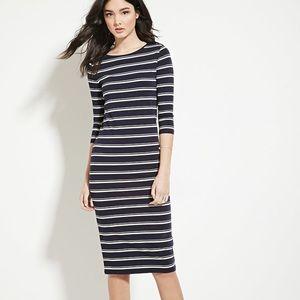 Forever 21 Stretch Stripe Black & Cream Dress Sm